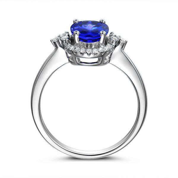 1.8ct Natural Blue Tanzanite in 18K Gold Ring