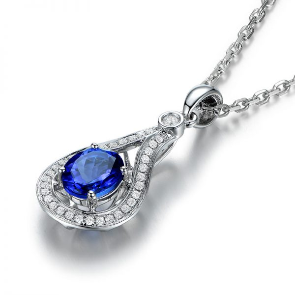 1.03ct Natural Blue Tanzanite in 18K Gold Pendant