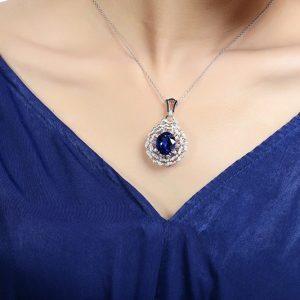 13.6ct Natural Blue Tanzanite in 18K Gold Pendant