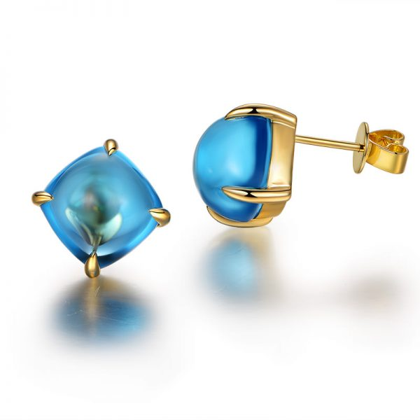 15.5ct Natural Blue Topaz in 18K Gold Earring