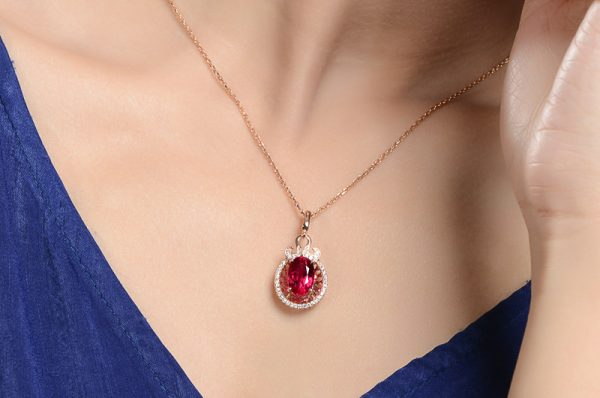 4.37ct Natural Red Tourmaline in 18K Gold Pendant