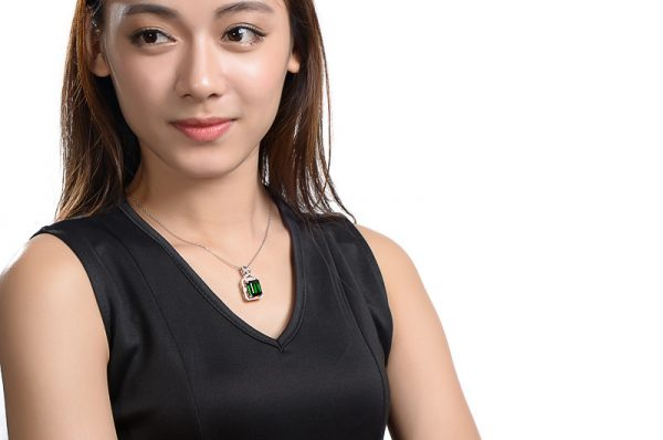10.58ct Natural Green Tourmaline in 18K Gold Pendant