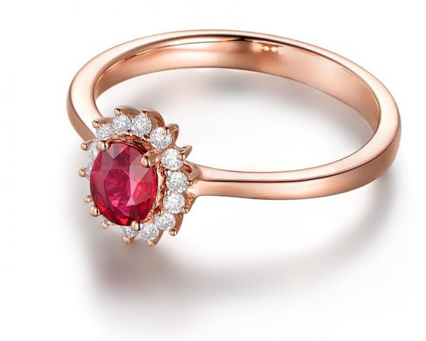 0.5ct Natural Red Ruby in 18K Gold Ring