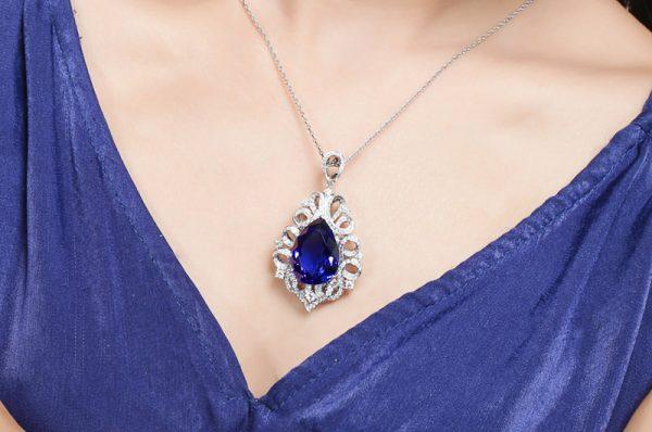 25ct Natural Blue Tanzanite in 18K Gold Pendant