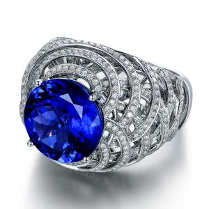 7.4ct Natural Blue Tanzanite in 18K Gold Ring