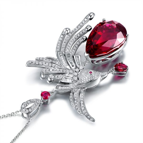 24.5ct Natural Red Tourmaline in 18K Gold Pendant