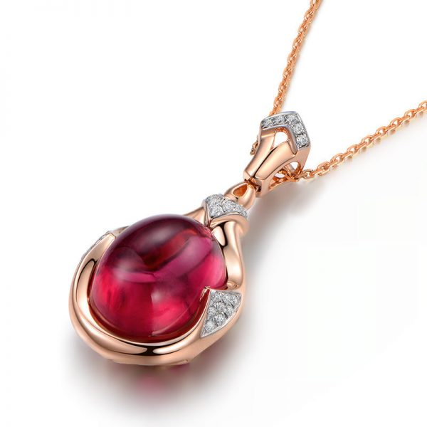 9.35ct Natural Red Tourmaline in 18K Gold Pendant