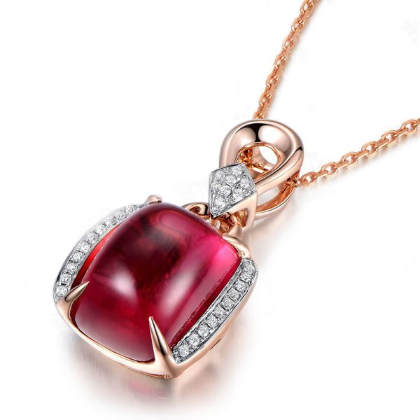 8.75ct Natural Red Tourmaline in 18K Gold Pendant