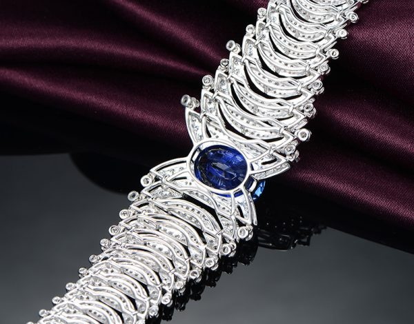 12.84ct Natural Blue Sapphire in 18K Gold Bracelet