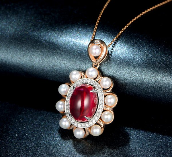 6.64ct Natural Red Tourmaline in 18K Gold Pendant