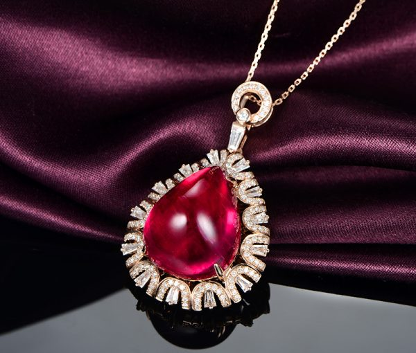 14.35ct Natural Red Tourmaline in 18K Gold Pendant