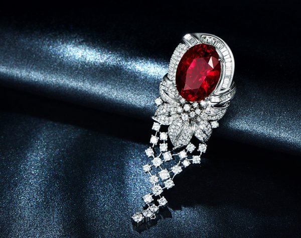 19.76ct Natural Red Garnet in 18K Gold Pendant
