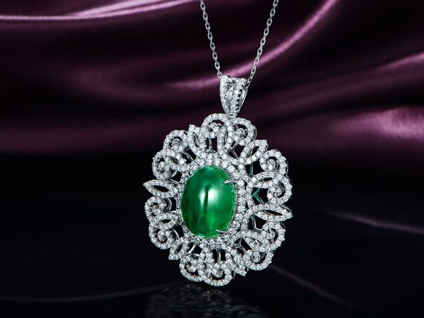 10.57ct Natural Green Emerald in 18K Gold Pendant