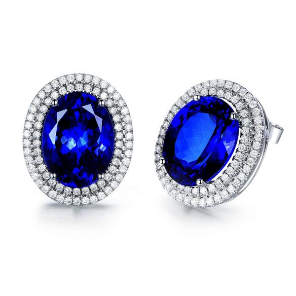 10.55ct Natural Blue Tanzanite in 18K Gold Earring