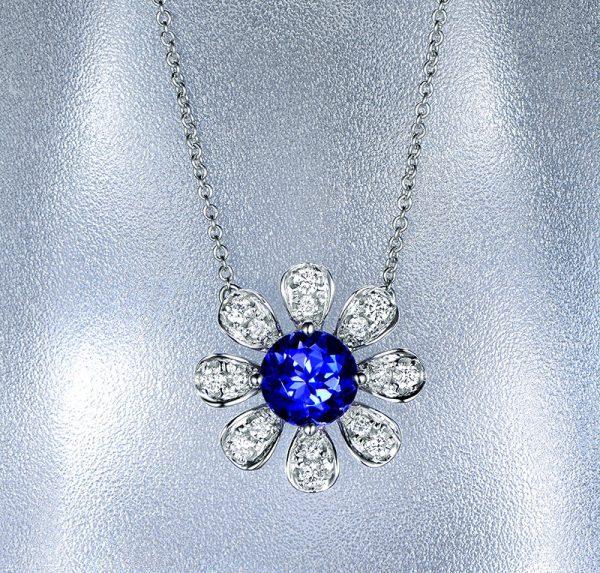 1.21ct Natural Blue Tanzanite in 18K Gold Pendant