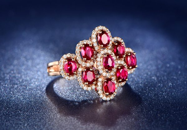 2.35ct Natural Red Ruby in 18K Gold Ring