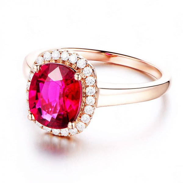 2.11ct Natural Red Tourmaline in 18K Gold Ring