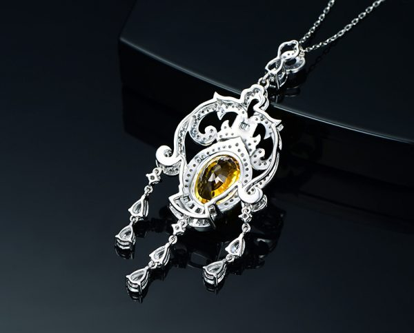 8.5ct Natural Yellow Sapphire in 18K Gold Pendant