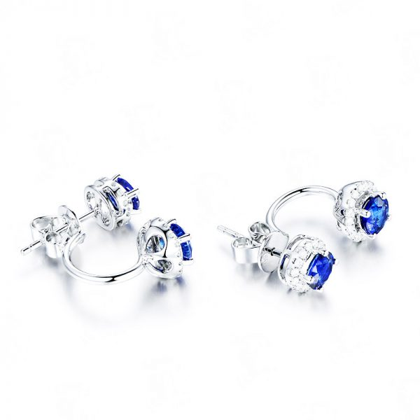 1.75ct Natural Blue Sapphire in 18K Gold Earring