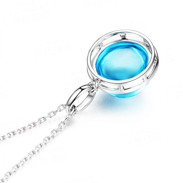 8.5ct Natural Blue Topaz in 18K Gold Pendant