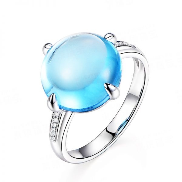 8.48ct Natural Blue Topaz in 18K Gold Ring