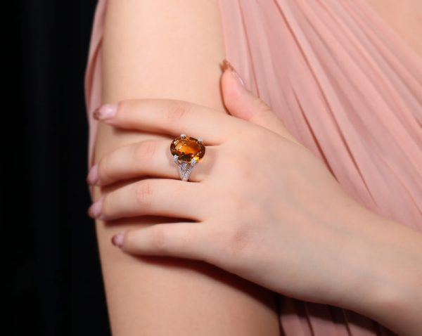 11.55ct Natural Yellow Citrine in 18K Gold Ring