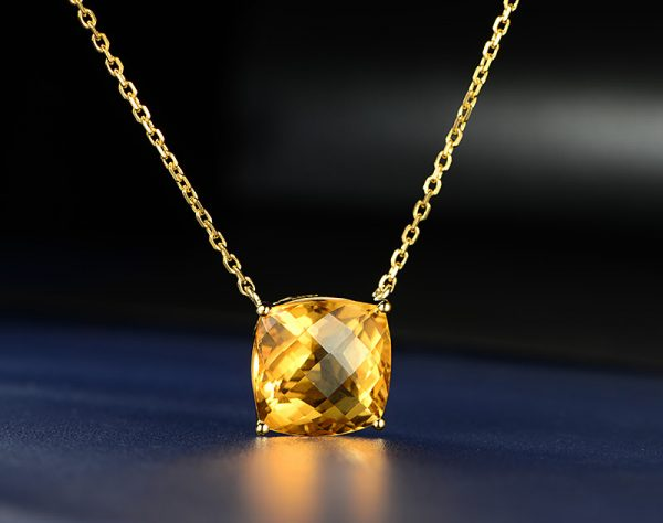 5ct Natural Yellow Citrine in 18K Gold Pendant