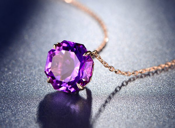 10.5ct Natural Purple Amethyst in 18K Gold Pendant