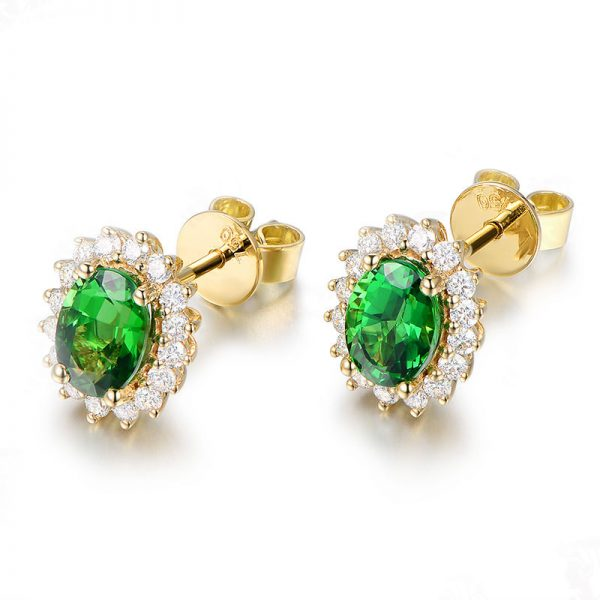 2.15ct Natural Green Tsavorite in 18K Gold Earring