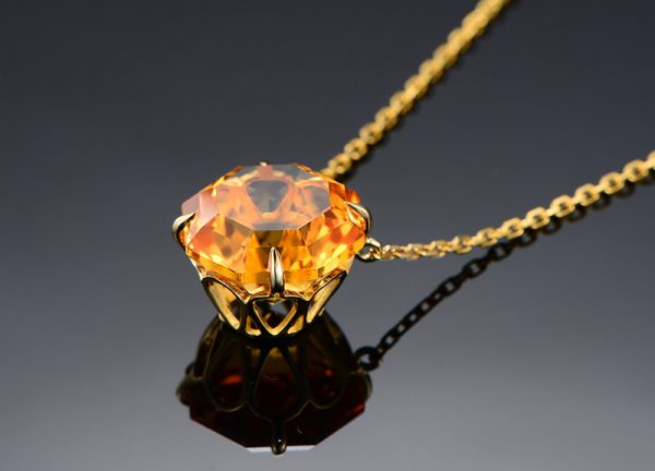 9.5ct Natural Yellow Citrine in 18K Gold Pendant