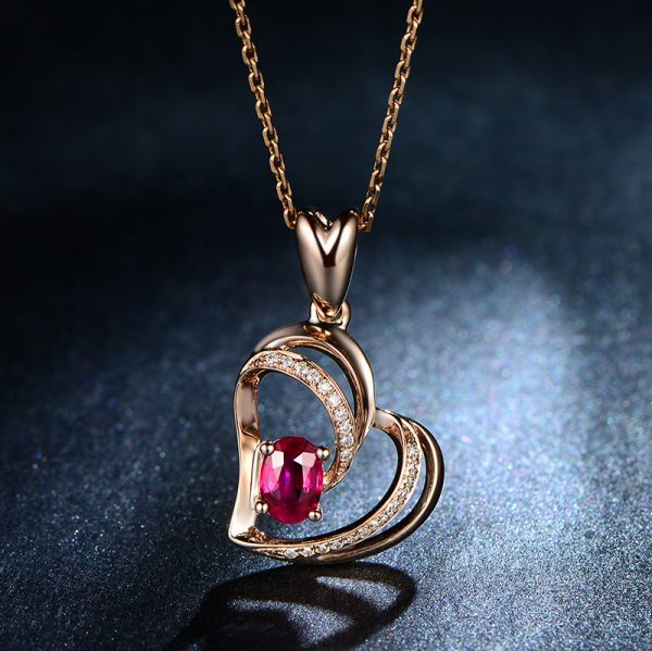 0.51ct Natural Red Ruby in 18K Gold Pendant