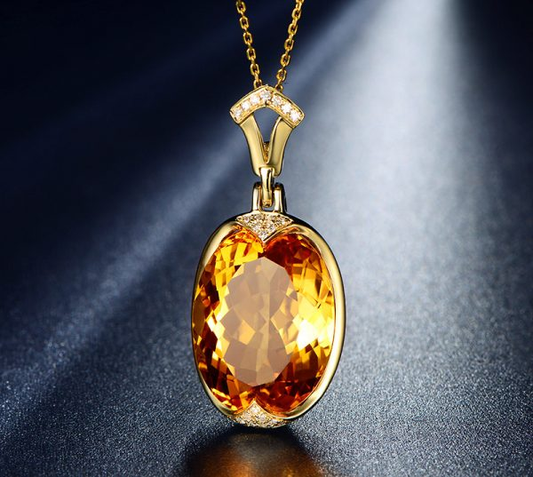21.55ct Natural Yellow Citrine in 18K Gold Pendant