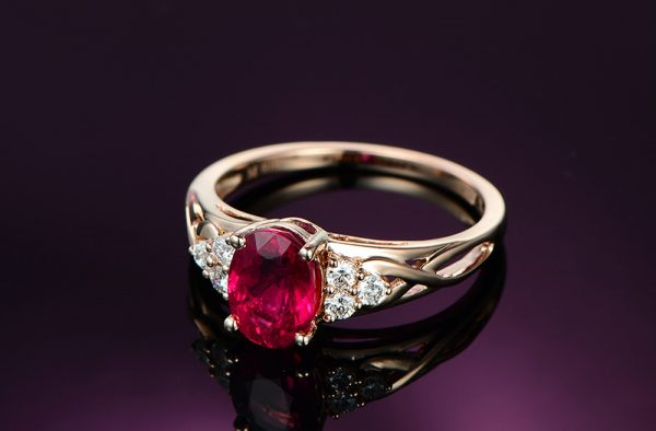 1.35ct Natural Red Tourmaline in 18K Gold Ring