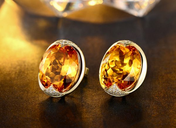 21.5ct Natural Yellow Citrine in 18K Gold Earring