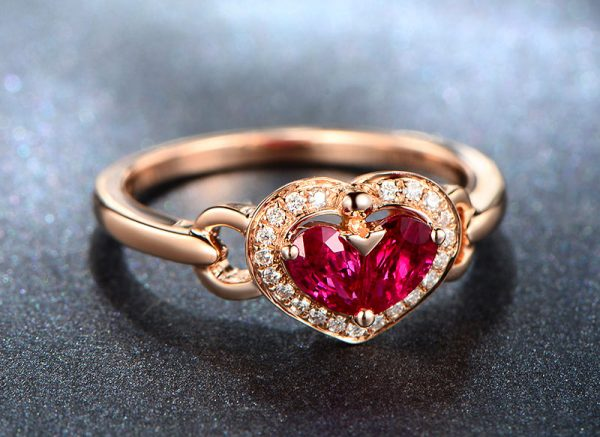 0.7ct Natural Red Ruby in 18K Gold Ring