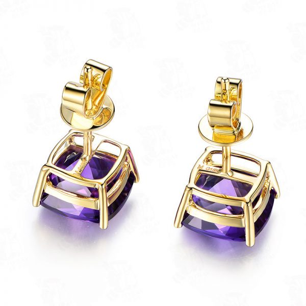 5.58ct Natural Purple Amethyst in 18K Gold Earring