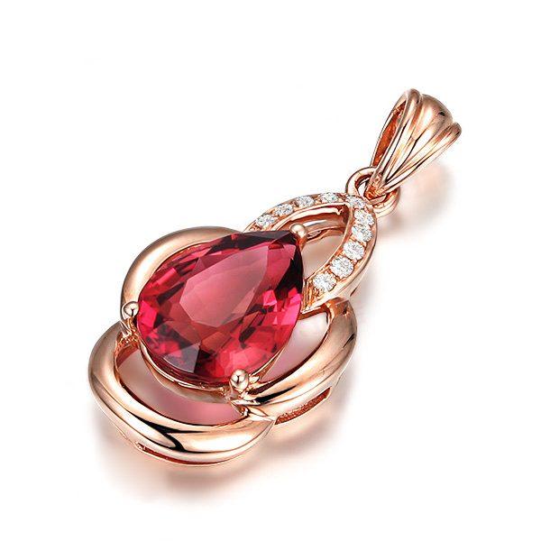 1.16ct Natural Pink Tourmaline in 18K Gold Pendant