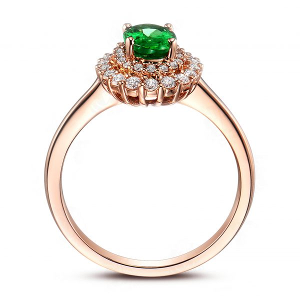 0.88ct Natural Green Emerald in 18K Gold Ring