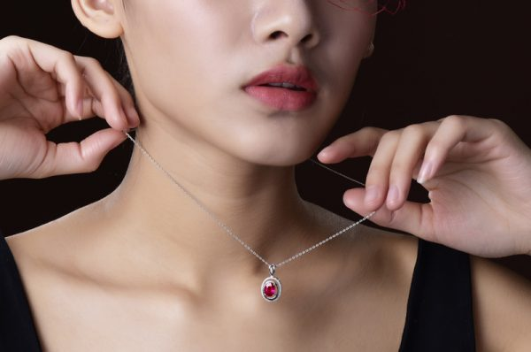 1.58ct Natural Red Tourmaline in 18K Gold Pendant