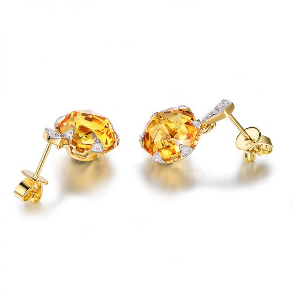 8.5ct Natural Yellow Citrine in 18K Gold Earring