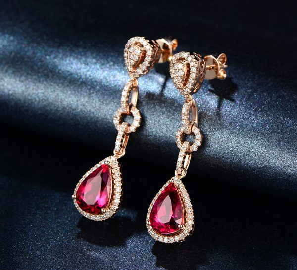 5.11ct Natural Red Tourmaline in 18K Gold Earring