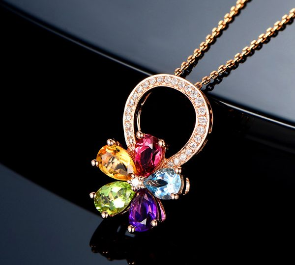 2.35ct Natural Multi Colored Stones in 18K Gold Pendant
