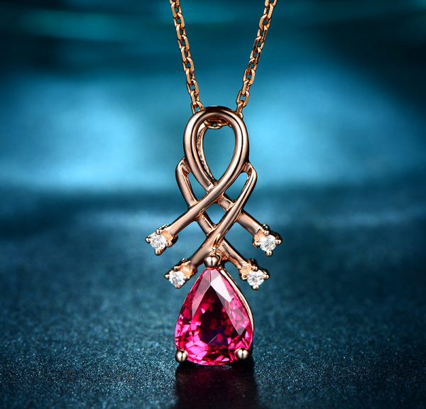 1.3ct Natural Red Tourmaline in 18K Gold Pendant