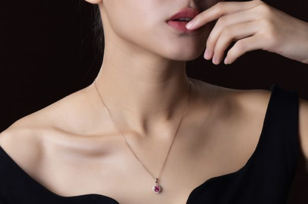 1.02ct Natural Pink Tourmaline in 18K Gold Pendant