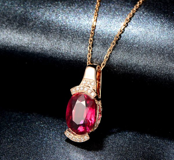 2.4ct Natural Red Tourmaline in 18K Gold Pendant