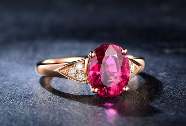 2.65ct Natural Red Tourmaline in 18K Gold Ring