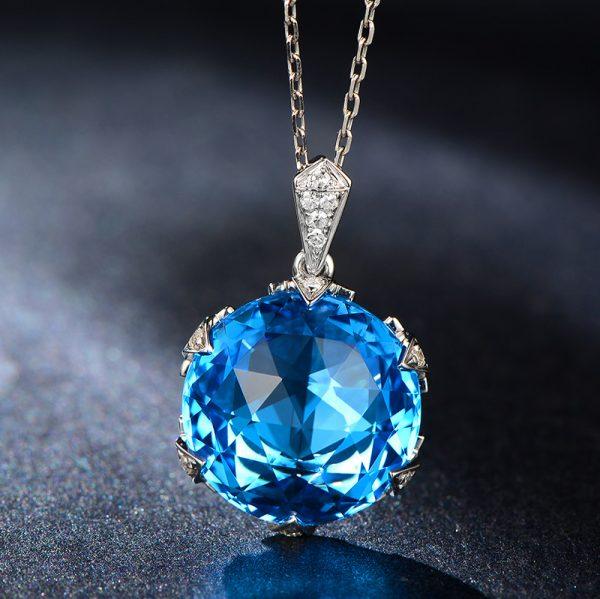 15ct Natural Blue Topaz in 18K Gold Pendant