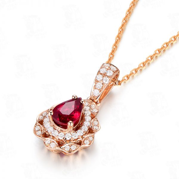 0.63ct Natural Red Ruby in 18K Gold Pendant