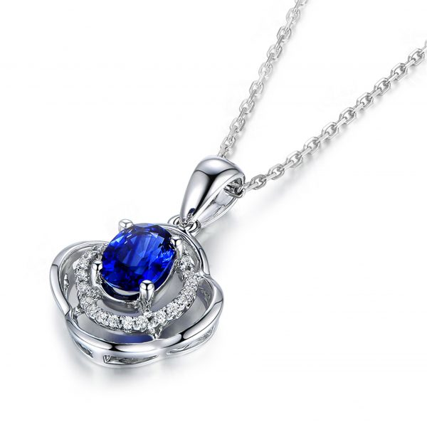 1.02ct Natural Blue Sapphire in 18K Gold Pendant