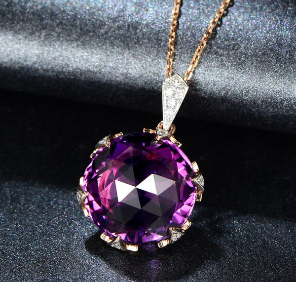 11ct Natural Purple Amethyst in 18K Gold Pendant